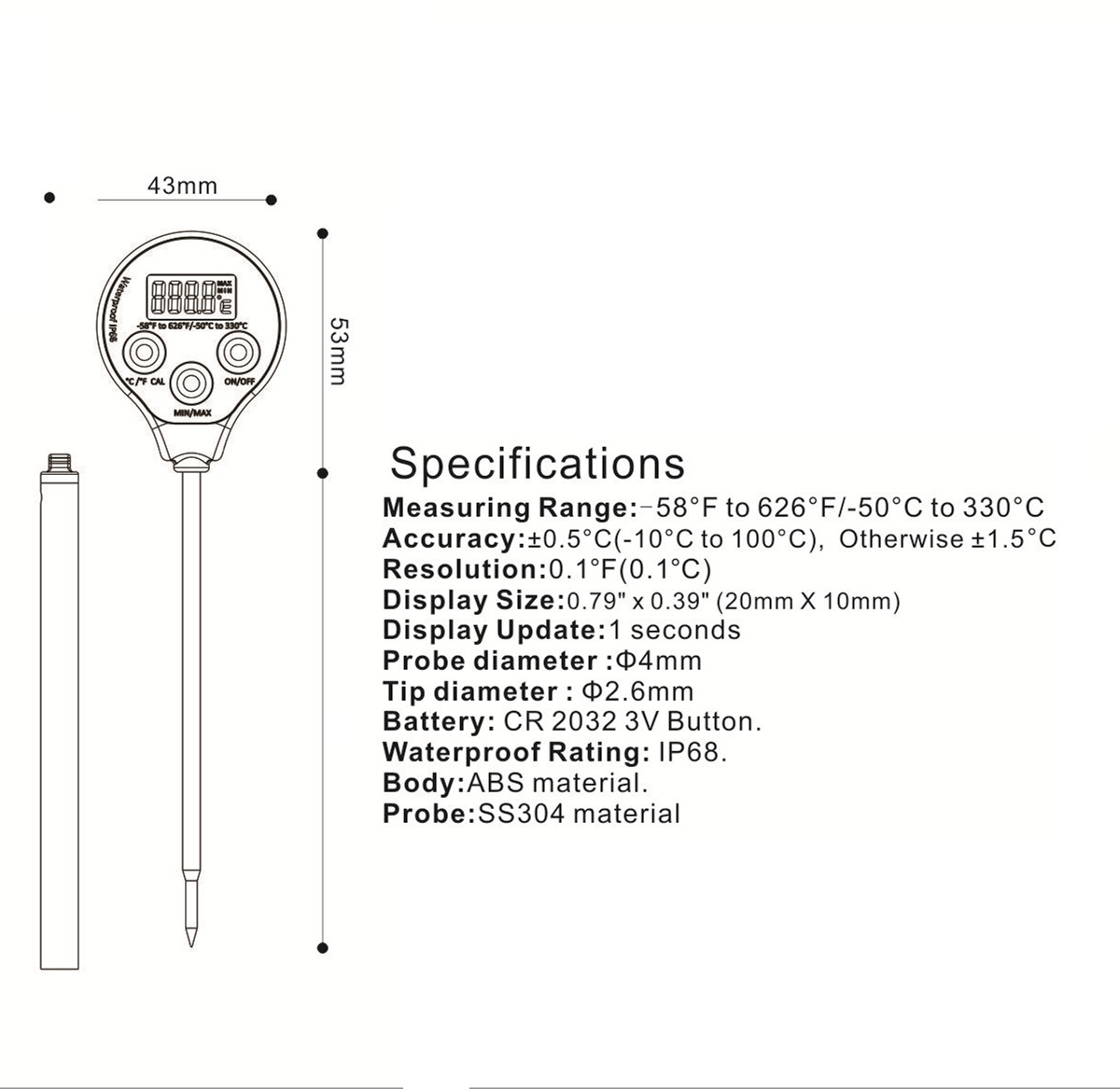 2020 Latest High Accuracy Waterproof Thermometer