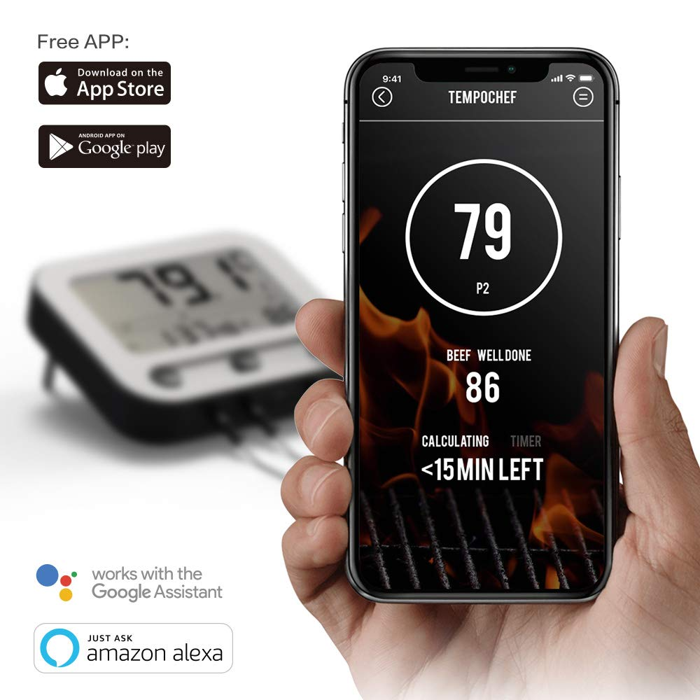 WiFi Bluetooth Smart Wireless Bbq Thermometer 4 Channel for