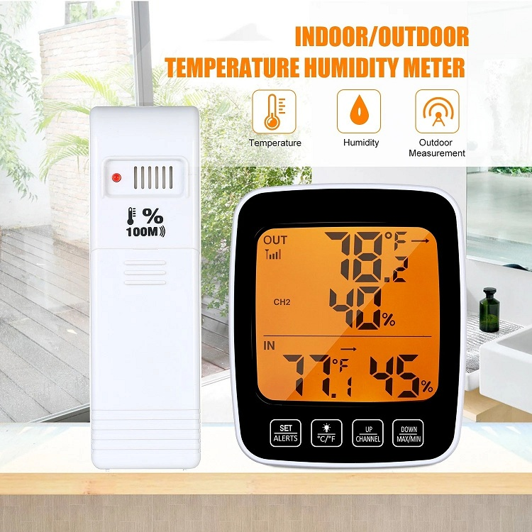 Color Display Wireless Indoor Outdoor Thermometer Hygrometer